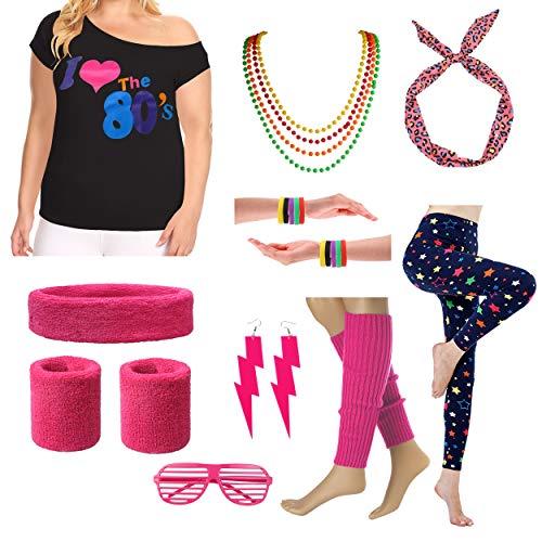 Ich Liebe die 80er Jahre T-Shirt Kostüm für die 1980er Jahre Mottoparty (1X/2X, Hot Pink)