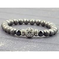 Armband für Männer in schwarz und grau Hämatitkorne und tibetischen Perlen
