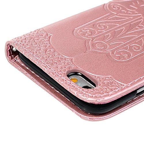 iPhone 6 Coque, iPhone 6S Coque Bookstyle Étui Hamsa La main de Fatima d'Impression Housse Cuir en PU Case à rabat Coque de Protection Portefeuille TPU Silicone Case pour iPhone 6/ iPhone 6S - Or Or Rose