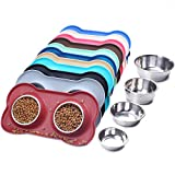 VIVAGLORY Dog Bowls Stainless Steel Water and Food Bowl Pet Cat Feeder with Non Spill Skid Resistant Silicone Mat, Medium, Burgundy