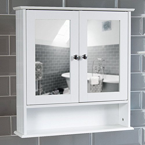Home Discount® Bathroom Cabinet Mirrored Double Doors Wall Mounted Storage Furniture, White