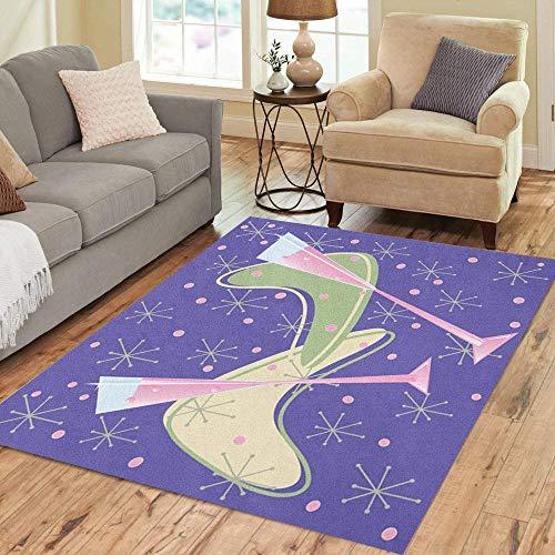 63X48 inch Flächenteppich Lila Modern Fun Retro Pink Champagne Toast Boomerang Home Decor Bodenteppich Teppich