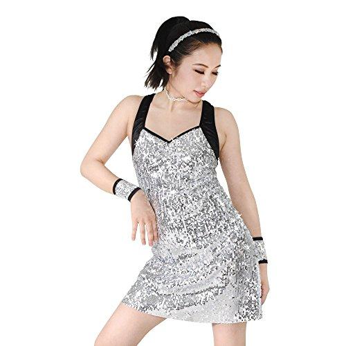 Tanz Kostüme Solo Lyrischen (MiDee Hemdchen, Oder So Was Full Silber Paillettenbesetzte A-line Kleid Tanz Kostüm (Silber,)