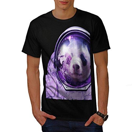 Maske Reflexion Kostüm - wellcoda Astronaut Panda Bär Männer T-Shirt, Raumfliegen Grafikdesign gedruckt Tee
