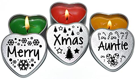 Merry Christmas Auntie Xmas Gift. Set of 3 Silver Mini Heart Tin Tealight Style Scented Candles. Perfect Christmas Gift Secret Santa and Christmas Place Settings. Each tin is