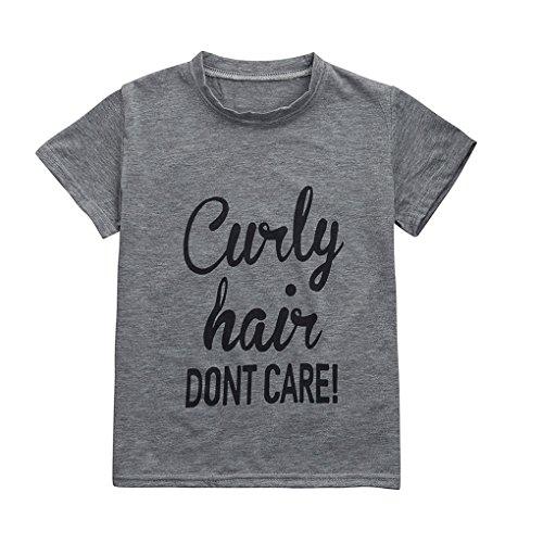 Sommer Babykleidung JYJMKinder Kinder Baby Mädchen Jungen Brief Print Soft Tops Süßes T-Shirt Kleidung Rundhals-Sweatshirt-Oberteil für Baby (3-7 Jahre) (M, Grau) (Hose Sweatsuit)