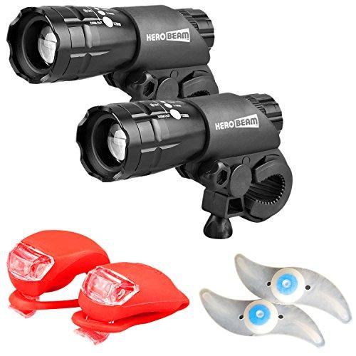 HeroBeam Set de Luces para Bicicleta Doble. Lo Último en Iluminación LED y Paquete de Seguridad de Luces Delanteras, Traseras y Luces de Rueda Súper Brillantes - GARANTÍA DE 5 AÑOS.