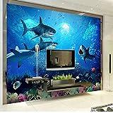 Rureng Mur De Papier Peint Sous-Marin Esthétique De Requin De Monde De Requin De Papier Peint Du Grand 3DEnfantin-120X100Cm