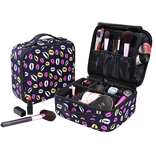 Poleonmor Neceser Maquillaje Impermeable Bolsa de Maquillaje Organizador A Brochas de Maquillaje Estuches Portatil Cosmeticos Bolsa Neceser De Viaje(Negro con patron labios)