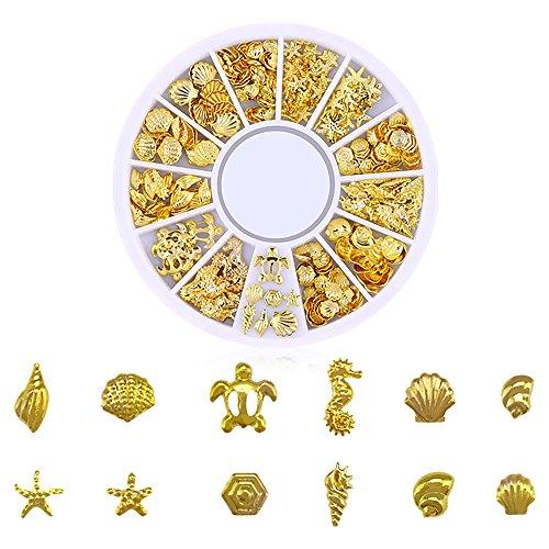 Berrose Nagel Kunst Dekoration Ocean Nail Art Studs Gold Charms Sommer Sea Metal Alloy Nieten Shell Starfish Kristall Glitter Strass UV Gel Acryl Tipps Aufkleber DIY