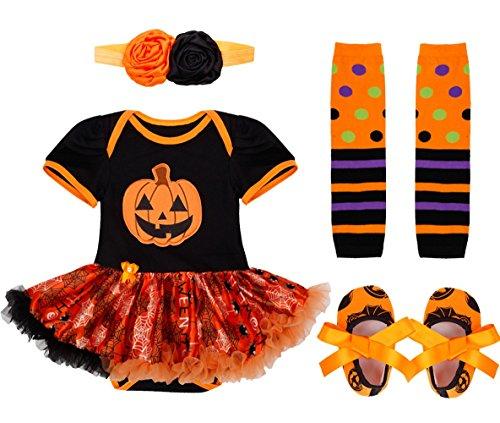 iiniim Neugeborenes Baby Mdchen 4tlg.Bekleidungsset Strampler Halloween Krbisse Kurzarm/Langarm Shirt + 1 Stirnband + 1 Beinwrmer + Schuhe, Orange, M(62-68/3-6 (M&m Kostüme Tank)