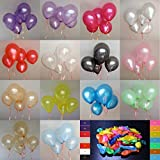 Pack of 100pcs 10 Assorted Colours Latex Party Balloons Pearl Helium Wedding Birthday Celebration Party Balloons by Generic