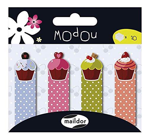 Maildor Modou Haftstreifen/Markierungen mit Cupcake-Motiv, 9x 9,69x 0,4cm, aus Papier