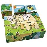 PROW® 3D Hölzerne Tier Würfel Blöcke Jigsaw 6 muster Löwe Zebra Elefanten Nashorn Tiger Kaninchen Safe Holz training Phantasie Puzzles Spielzeug für Kinder Baby Kinder