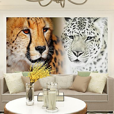 Lion Leopard Avec La Boite Fond d'écran 3D Personnalité Fond d'écran Peinture murale Toile Matériel Golden ChurchXL XXL XXXL , 3xl