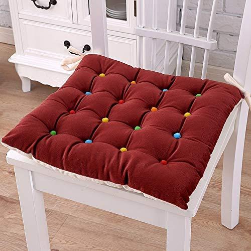 QTSL Verdickte plüsch sitzkissen,Büro Computer Stuhl pad Plaid quadratische sitzkissen mit Krawatten-J 40x40cm(16x16inch)