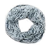 MANUMAR Loop-Schal für Damen | Hals-Tuch in weiß schwarz mit flauschigem Teddy Fell als perfektes Herbst/Winter-Accessoire | Schlauchschal | Damen-Schal | Rundschal | Geschenkidee für Frauen