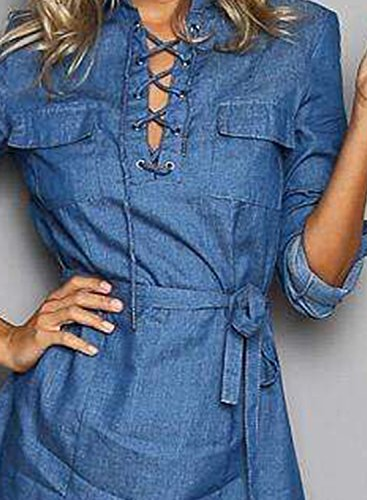 Azbro Women's Long Sleeve Tie Waist Denim Mini Dress Blue
