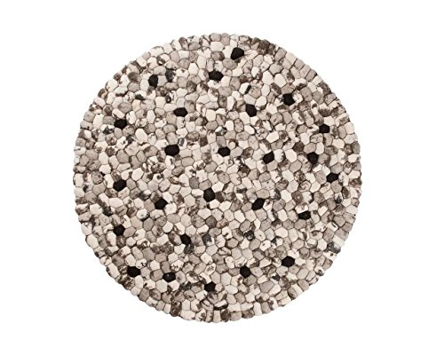 Ishaan: rund Steinen Gefilzt Woll-Teppich Runde Schwarzweiss aus Indien, Modern Design (90cm / 2' 11'')