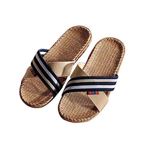 De piel para hombre zapatillas de andar por casa con plantilla ortopédicos o de forro de lana. Disponible en varios colores, marrón oscuro, 46