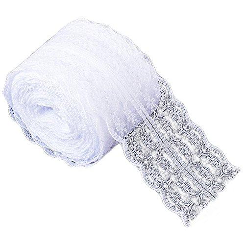 10 m Puntillas de encaje - Sólido Color Encaje Cinta Nupcial Boda Bricolaje Ropa Cortina Accesorios (Blanco)