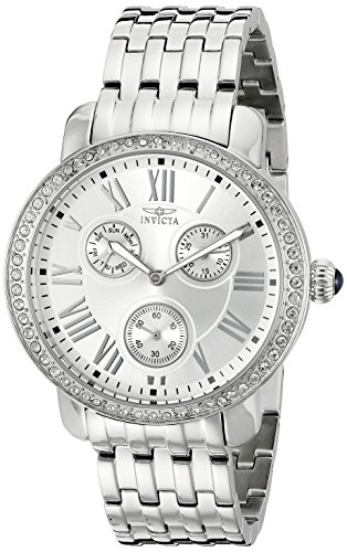 Invicta Women's Angel 40mm Steel Bracelet & Case Quartz Silver-Tone Dial Analog Watch 21411SYB