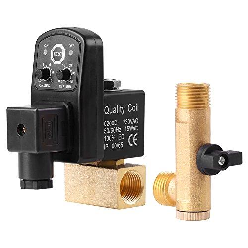 G1 / 2 DN15 Automatische Elektronische Zeitgesteuerte Ablassventil Luftbehälter Wasser Feuchtigkeit für Luftkompressor Kondensat Management, Getrennt Ventil(AC230V) (Ablassventil Automatisches)