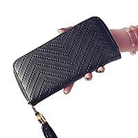 AniYY Women Leather Card Phone Holder Long Arrow Wallet Checkbook Tassel Handbag Purse