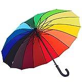 LissomPlume XL 16 Rippen Regenbogen farbige Reise Regenschirm Unisex Winddicht Umbrella - Rainbow Cane Stick