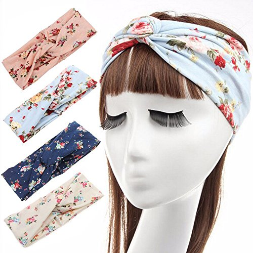 Skitic 4 Pack Assorted Headbands Modern Women Hair Band Vintage Floral Print Vintage Elastic Cotton Head Wrap Stretchy Moisture Hairband Twisted Hair Clasp