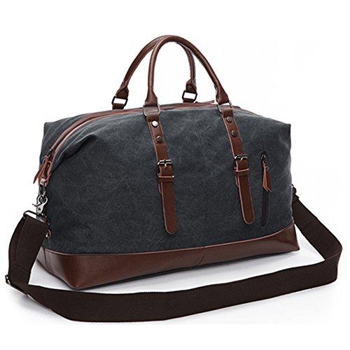 Übergroße Umhängetasche Handtasche Leinwand Segeltuch Leder Trim Reisetasche Duffel Schulter Gepäck Weekend Bag Outdoor im Freien für Damen Herren (Schwarz) (Übergroße Handtasche)