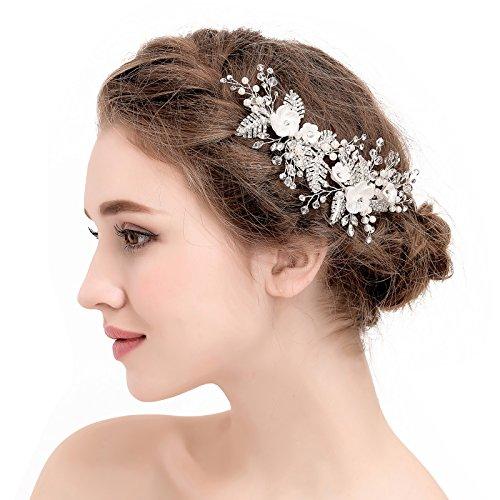 SWEETV Perle Hochzeit Haarkämme Silber Strass Diadem Blüten Haarnadeln für Braut Brautjungfer