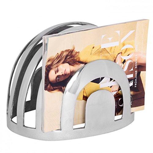FineBuy Design Deko Zeitschriftenständer 22 x 30 x 22 cm in Silber | Moderner Zeitungshalter aus Aluminium | Magazin-Ablage rund aus Metall