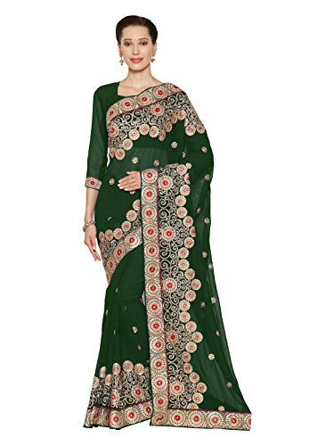 SOURBH Women's Heavy Embroidered Wedding Bridal Saree with blouse piece (3801_Green)