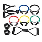 Supertrip Resistance Band Set Fitnessband Sport Body Tube Fitnessbänder Set Fitness Training Bänder Expander Fitnessband Widerstandsbänder Gymnastikbänder Trainingsbänder aus Naturlatex Color 12PCS-100LB