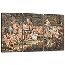 Atribuido a John Lewis Krimmel - Exposición de ceremonias tribales indias en el teatro olímpico de Filadelfia (Formerly attributed to Pavel Petrovich Svinin (1787/88–1839)), 120 x 80 cm (3 x 40x80cm) (varios tamaños disponibles), Impresión de la lona enmarcada en el marco de madera genuino y listo para colgar, impresión de alta calidad hecha a mano.