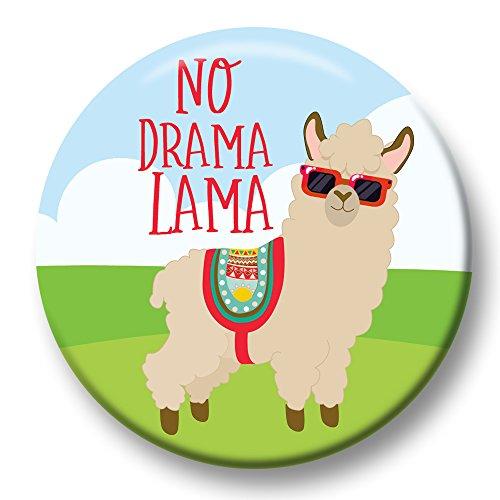 Polarkind Button Pin Karneval Anstecker No Drama Lama Cooles Alpaka 38mm Handmade (Kostüm Für Den Drama)