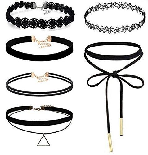 CargoMix® 6 Stück Choker Halskette Set Stretch samt klassische gotische Tattoo Spitze Choker für Frauen Mädchen Damen Zubehör