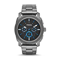 Fossil Machine For Men Black Dial Stainless Steel Band Chronograph Watch - FS4931