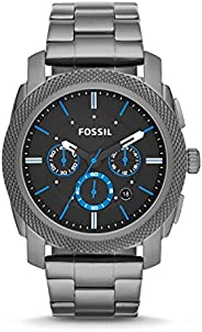 Fossil Machine Men's Black Dial Stainless Steel Analog Watch - FS