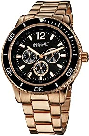 August Steiner Men's Large Face Tachymeter Fashion Watch - Dial with Day of Week, Date, and 24 Hour Subdia