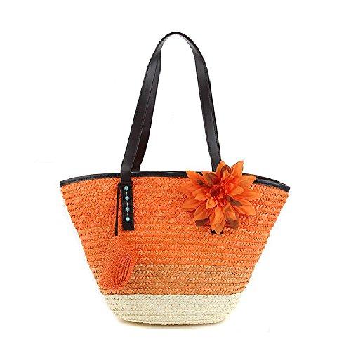 mixinni® Weizen Strohhalme Handtasche Schultertasche Farbige Gestreifte Blumen Strohtaschen Damen Strandtaschen Orange