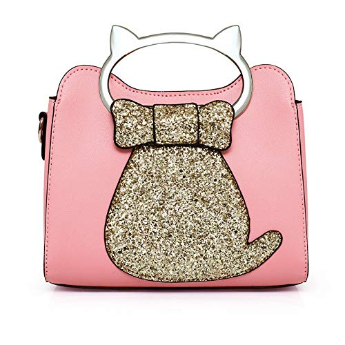 Chanel Bow (GMYANDJB Cute Cat Shaped Totes Sequins Handbags Women Shoulder Bags Bow Glitter Purses Crossbody Bag for Girls Leather)