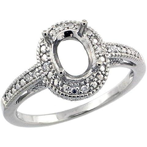 Revoni-Collana in argento Sterling stile Vintage, Semi-Mount, 8 x 6 mm)-Anello con pietra ovale, 0,063 kt con diamanti taglio brillante, misure disponibili da J a