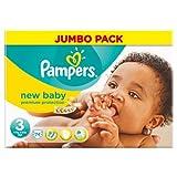 Pampers New Baby jumbo Pack Lot de 74Couches Taille 3Étui de 5