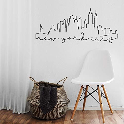 New York City Umriss Skyline Wandaufkleber Vinyl Home Decoration Wohnzimmer Aufkleber Abnehmbare Inneneinrichtung Tapete Wandbild 99X42cm