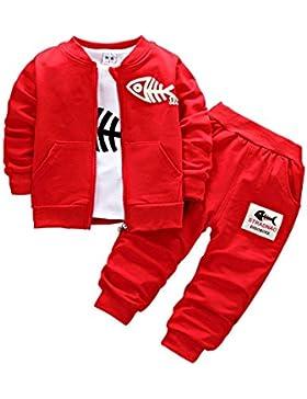 BINIDUCKLING Bebé Abrigo de niños+Pantalones + Camisas Conjuntos de ropa para niños Pequeños conjuntos de 3 piezas...