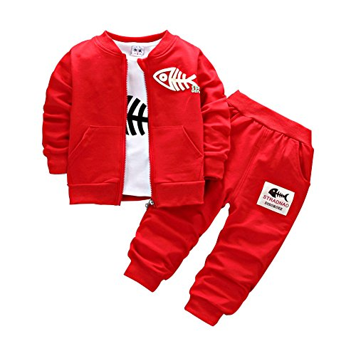 BINIDUCKLING Baby Jungen (0-24 Monate) Bekleidungsset Gr. 12 - 18 Monate, rot