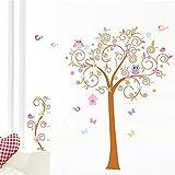 Malilove Eulen Baum Blumen Tapetensticker Home Dekorationen Diy Pvc Abnehmbare Karikatur Aufkleber Für Kinder Schlafzimmer Einrichtung