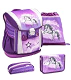 Belmil ergonomischer Schulranzen Set 4 - teilig für Mädchen 1, 2, 3, 4 Klasse Grundschule/verstellbar mit Hüftgurt und Brustgurt/lila, Purple Einhorn, Unicorn (404-20 Unicorn)